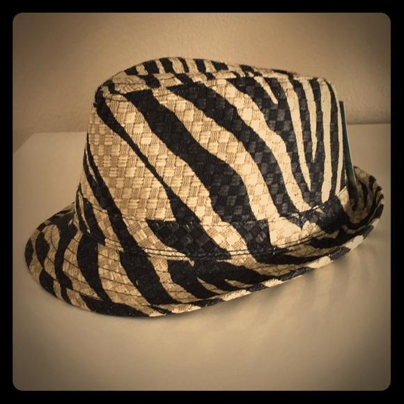 Zebra print black and gold fedora hat S M fdcb23affc22